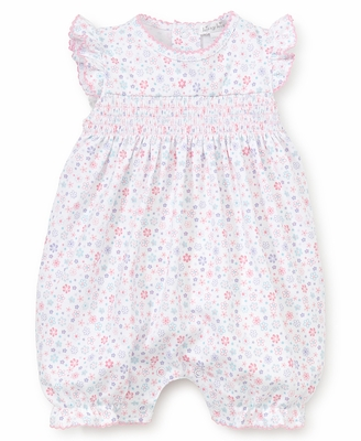 Kissy Kissy Baby Girls Pink Floral Smocked Playsuit Bubble - Flutter Sleeves