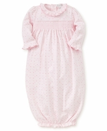 Kissy Kissy Baby Girls Pink Hearts Print Smocked Gown - Ruffle Neck