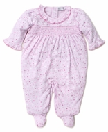 Kissy Kissy Baby Girls Smocked Footie - Pink Valentine Hearts Print
