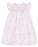 Kissy Kissy Baby Girls Pink Mini Blooms Smocked Dress with Diaper Cover