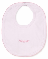 Kissy Kissy Baby Girls Pink Premier Rosebud Ribbons Embroidered Bib