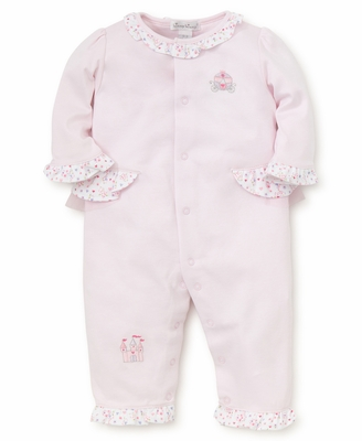 Kissy Kissy Baby Girls Pink Queen of the Castle Embroidered Romper - Ruffle Backside