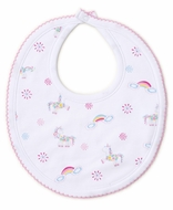 Kissy Kissy Baby Girls Pink Rainbow Unicorns Bib