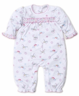 Kissy Kissy Baby Girls Pink Rainbow Unicorns Ruffle Back Playsuit