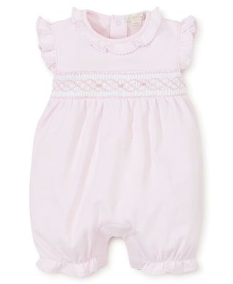 Kissy Kissy Baby Girls Pink Smocked Rosebuds Bubble Romper