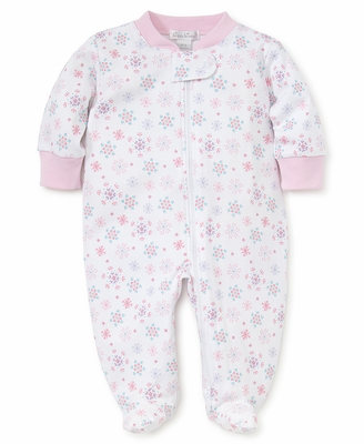 Kissy Kissy Baby Girls Pink Snow Flower Snowflake Print Footie with Zipper