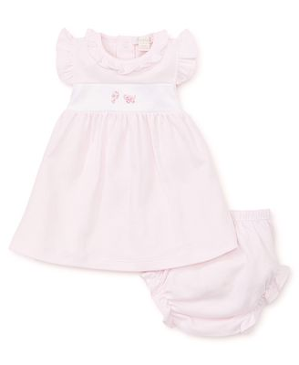 Kissy Kissy Baby Girls Pink Stripe Dress with Bloomers - Embroidered Elephant