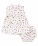 Kissy Kissy Baby Girls Pink Tutti Frutti Fruit Print Ruffle Dress with Bloomers