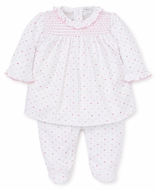 Kissy Kissy Baby Girls Pink Valentine Hearts Print Smocked Footie with Overlay