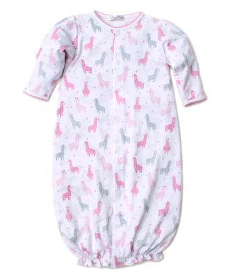 Kissy Kissy Baby Girls Converter Gown - Pink / Gray Wooly Llamas