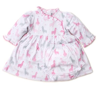 Kissy Kissy Baby Girls Dress Set - Pink / Gray Wooly Llamas
