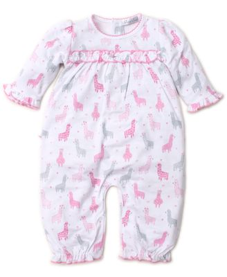 Kissy Kissy Baby Girls Ruffle Playsuit Romper - Pink / Gray Wooly Llamas