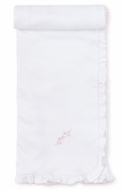 Kissy Kissy Baby Girls Premier Garden Parade White Blanket - Pink Embroidery