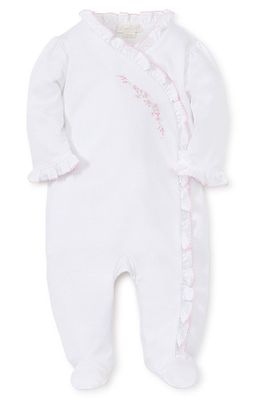 Kissy Kissy Baby Girls Premier Garden Parade White Footie - Pink Embroidery - Ruffles