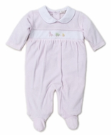 Kissy Kissy Baby Girls Premier Pull Toys Footie - Pink Velour