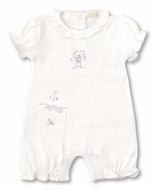 Kissy Kissy Baby Girls Premier Summer Bouquet Playsuit with Pocket - Lilac Embroidery