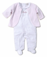 Kissy Kissy Baby Girls Premier Vines White Footie with Pink Velour Jacket