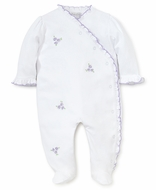 Kissy Kissy Baby Girls Rambling Roses Footie - White with Lilac Embroidery