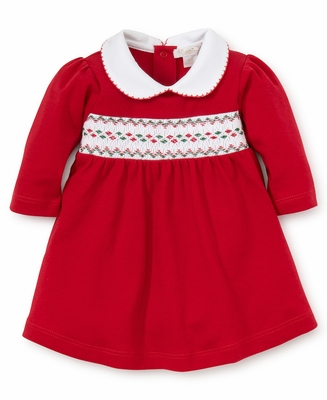 Kissy Kissy Baby Girls Red Dress Set - Smocked in Red / Green for Christmas