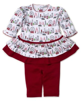 Kissy Kissy Baby Girls Red London Live Dress Set with Leggings