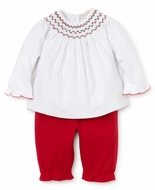 Kissy Kissy Baby Girls Red Pants with Smocked Christmas Top