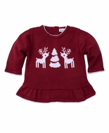 Kissy Kissy Baby Girls Red Reindeer Sweater with Peplum
