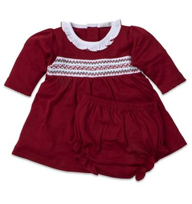 Kissy Kissy Baby Girls Red Smocked Holiday Dress Set