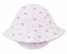 Kissy Kissy Baby Girls Reversible Sun Hat - Pink Whales / Stripes