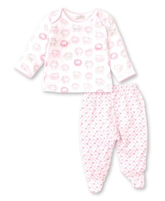 Kissy Kissy Baby Girls Shabby Sheep Footed Pant Set - Pink