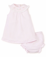 Kissy Kissy Baby Girls Sleeveless Pink Dress with Hand Embroidery and Bloomers
