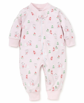 Kissy Kissy Baby Girls Snow Day Snowman Print Pajamas with Zipper - Pink