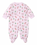 Kissy Kissy Baby Girls Snowman Reindeer Fun Footie - Pink