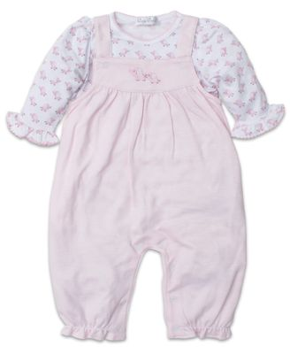 Kissy Kissy Baby Girls Stripe Overall with Elephants Bodysuit Shirt - Pink