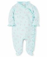 Kissy Kissy Baby Girls Summer Cheer Mint Green / Pink Floral Ruffle Footie