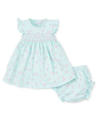 Kissy Kissy Baby Girls Summer Cheer Mint Green / Pink Floral Smocked Dress with Bloomers