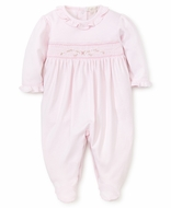 Kissy Kissy Baby Girls Sweet Pink Smocked Footie - Ruffle Neck