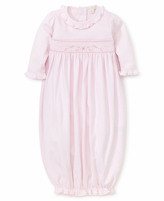 Kissy Kissy Baby Girls Sweet Pink Smocked Ruffle Collar Gown