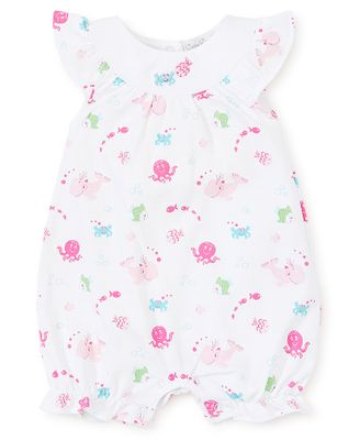 Kissy Kissy Baby Girls Under the Sea Print Embroidered Playsuit Bubble - Pink