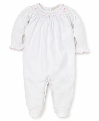 Kissy Kissy Baby Girls White Footie - Smocked in Pink