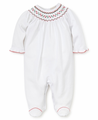 cc85456436bcd Kissy Kissy Baby Girls White Footie - Smocked in Red / Green for Christmas