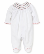 Kissy Kissy Baby Girls White Footie - Smocked in Red / Green for Christmas