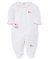 Kissy Kissy Baby Girls White Footie - Tutti Frutti Fruit Embroidery