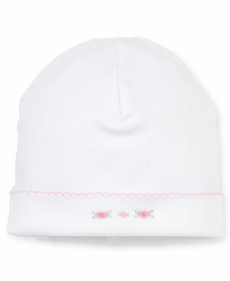 Kissy Kissy Baby Girls White Hat - Pink Embroidery