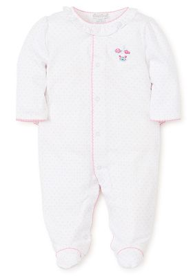 Kissy Kissy Baby Girls White Mermaid Fun Embroidered Footie - Ruffle Backside