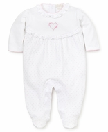 Kissy Kissy Baby Girls White / Pink Dots Premier Rose Heart Footie