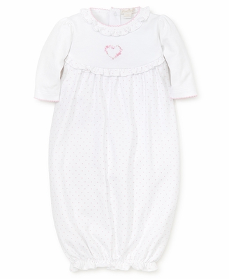 Kissy Kissy Baby Girls White / Pink Dots Premier Rose Heart Sack Gown