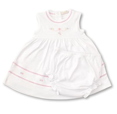 Kissy Kissy Baby Girls White Dress Set with Pink Embroidery