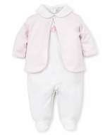 Kissy Kissy Baby Girls White / Pink Giraffe Footie with Striped Jacket