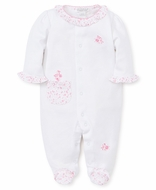 Kissy Kissy Baby Girls White / Pink Mini Blooms Footie with Pocket