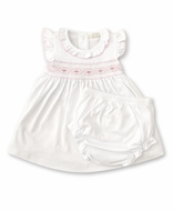 Kissy Kissy Baby Girls White Dress Set - Smocked in Pink